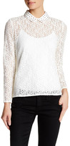 The Kooples Lace & Studs Long Sleeve Blouse