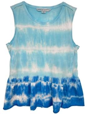Vanilla Star Juniors' Peplum Tie-Dyed Tank Top