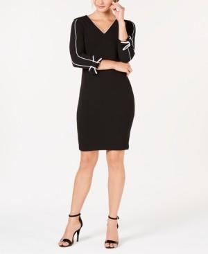 Calvin Klein V-Neck Piped Sheath Dress