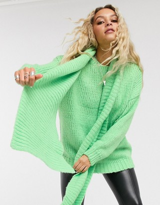 Bershka sweater & matching removable scarf in apple green