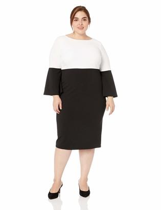 Calvin Klein Women's Size Color Blocked Bell Sleeve Dress