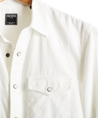 Todd Snyder Micro Corduroy Western Shirt in Ivory
