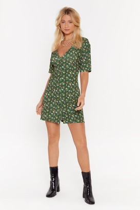 Nasty Gal Womens Such A Grow Off Floral Mini Dress - Green - 6, Green