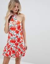 Asos Mini Haltnerneck Bodycon Dress With Gathered Hem In Red Floral