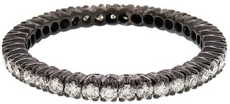 Ring Black White Diamond Prong Set Eternity Band Ring - Black Rhodium