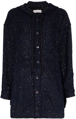 Faith Connexion Hooded Button-Up Sequin Jacket