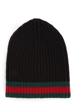 Gucci Striped-edge Ribbed-wool Beanie Hat