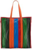 Balenciaga Bazar Shopper Medium Striped Leather Shopper Tote Bag, Multi