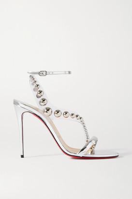 Christian Louboutin Corinetta 100 Studded Pvc And Metallic Leather Sandals - Silver