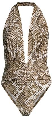 Norma Kamali Marissa Snake-Print Slinky Halter One-Piece Swimsuit