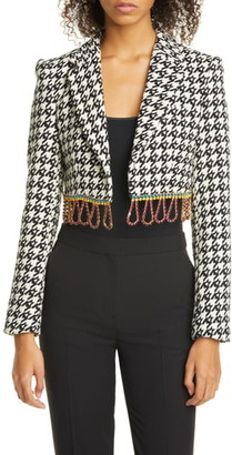 Area Crystal Fringe Houndstooth Wool Blend Bolero Jacket