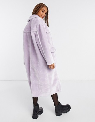 ASOS DESIGN longline bonded shearling shacket in lilac
