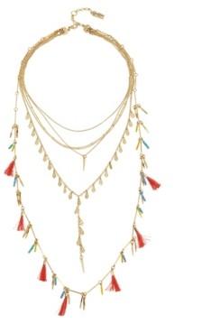 Jessica Simpson Tassel Multi Row Gold-Tone Necklace Set