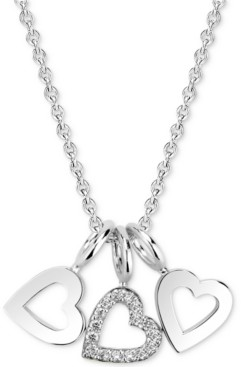 """Sarah Chloe Diamond Accent Triple Heart Charm Pendant Necklace in 14k Gold-Plated Sterling Silver, 16"""" + 2"""" extender"""