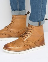 Frank Wright Brogue Boots With Contrast Sole
