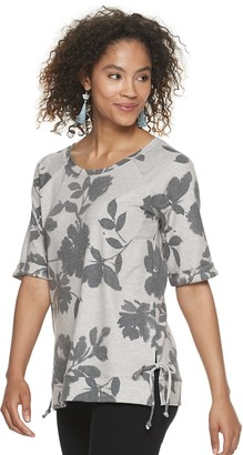 Sonoma Goods For Life Women's Super Soft Side Tie Elbow Sleeve Top