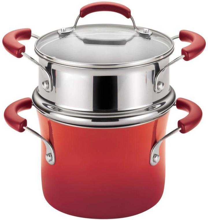 Rachael Ray Hard Enamel Nonstick 3 qt. Covered Steamer Set in Red Gradient