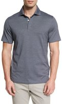 Ermenegildo Zegna Micro-Striped Cotton-Blend Short-Sleeve Polo Shirt, Navy