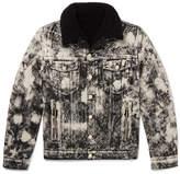 Balmain Faux Shearling-Lined Acid-Washed Denim Jacket
