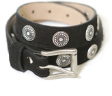 Brave Leather Ltd. Bellsie Suede Belt with Silver Embellishments in Black