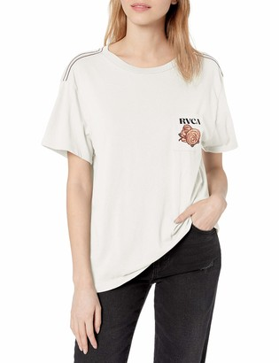 RVCA Women's Roses are RED Short Sleeve Crew Neck T-Shirt
