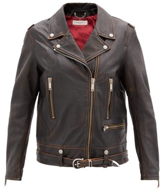 Golden Goose Andrea Leather Biker Jacket - Dark Brown