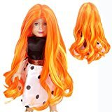 "STfantasy Doll Wig American Girl Barbie Baby BJD SD 17"" Long Curly Wavy Ombre Lolita Harajuku Heat Resistant Synthetic Hair for 18"" Doll Orange Mixed Yellow"