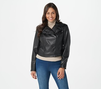 Isaac Mizrahi Live! Faux Leather Cropped Motorcycle Jacket
