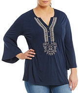 Peter Nygard Plus Embroidered Bell-Sleeve Blouse