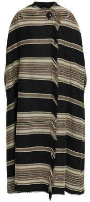 Isabel Marant Wild West Frayed Striped Wool-blend Coat