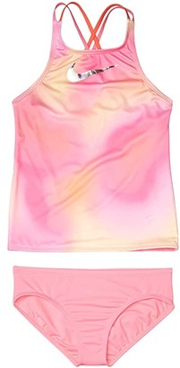 Nike Kids Spectrum Spiderback Tankini Set (Little Kids/Big Kids) (Lotus Pink) Girl's Swimwear Sets
