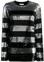 Beau Souci Metallic striped sequin blouse