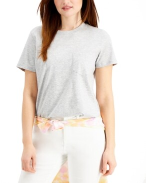 Style&Co. Style & Co Solid Single-Pocket Cotton T-Shirt, Created for Macy's