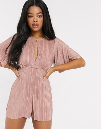 Miss Selfridge plisse playsuit in pink