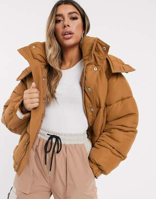 Sixth June oversized padded cropped jacket-Brown