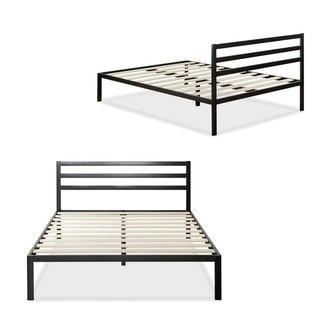 Overstock King Metal Platform Bed Frame with Headboard and Wood Slats - Pictured