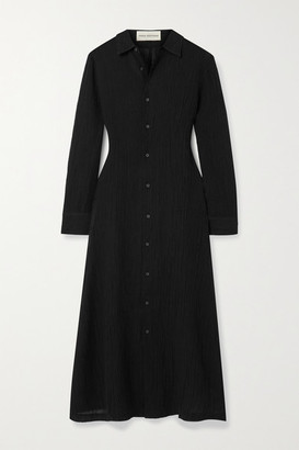 Mara Hoffman Net Sustain Cinzia Crinkled Organic Linen And Cotton-blend Gauze Maxi Dress - Black