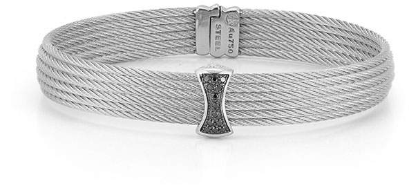 Alor Classique Multi-Row Bangle w/ Black Diamond Pave, Gray