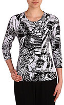 Allison Daley Petite Crew-Neck 3/4 Sleeve Printed Knit Top