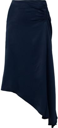 Les Héroïnes The J.k. Asymmetric Ruched Satin Skirt