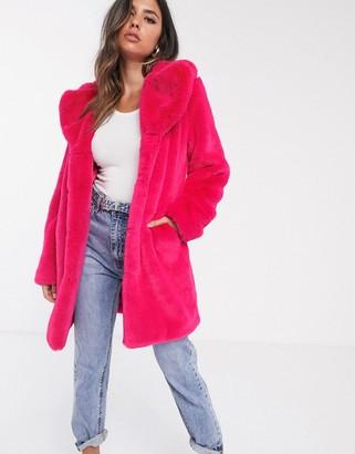 Barneys New York Barneys Originals longline faux fur coat in neon pink