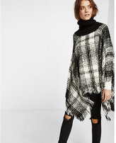 Express black and white plaid cowl neck poncho