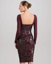 Donna Karan Sheer-Yoke Long Sleeve Sequin Dress, Claret
