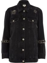 River Island Womens Black washed eyelet oversized denim jacket