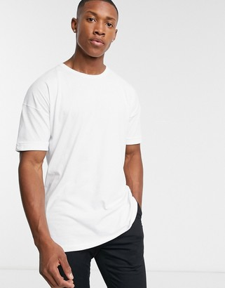 Selected drop shoulder oversized t-shirt in white-Green
