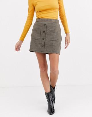 JDY Mandy button through a line checked skirt