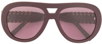 Tod's Leather Infilature Detailing Sunglasses