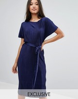 Club L Plisse T-Shirt Dress with Waist Tie