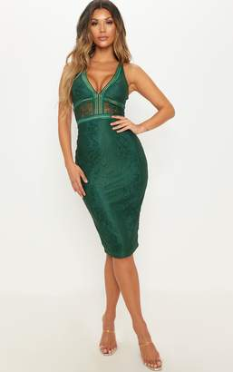 PrettyLittleThing Emerald Green Plunge Lace Open Back Midi Dress