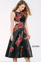 Jovani Sleeveless Floral Print A-Line Cocktail Dress 35209